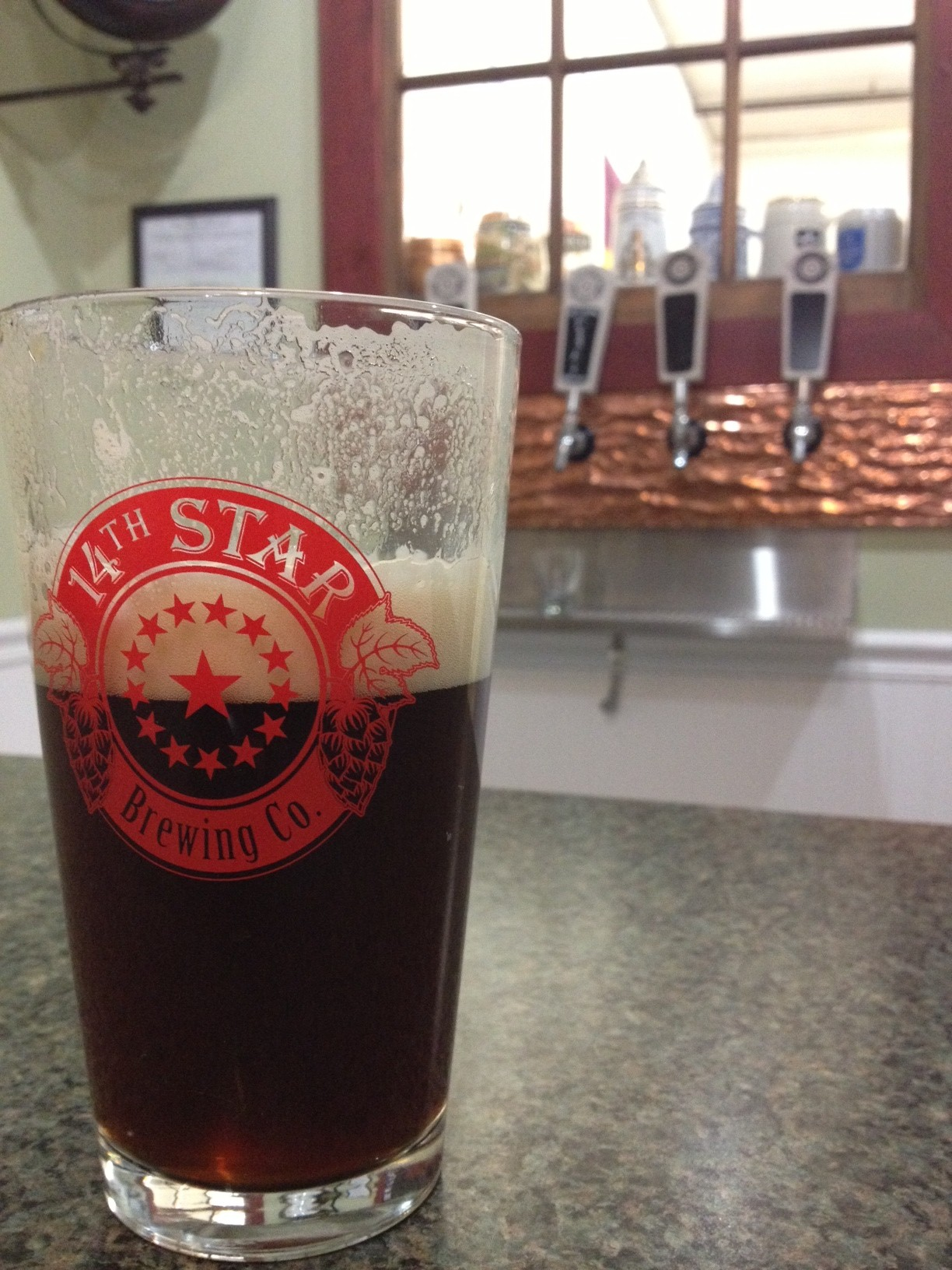 A tasty shot of our first release - Harvest Brown Ale.
